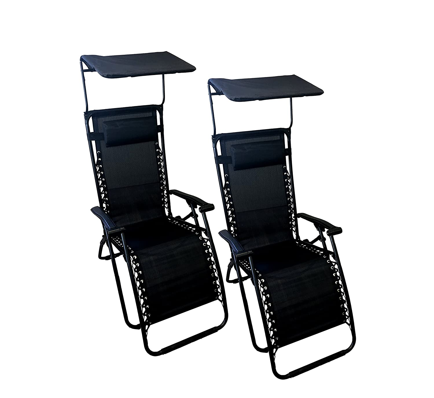 Astonishing World Famous Sports Zero Gravity Lounge Chair With Sunshade 2 Pack Machost Co Dining Chair Design Ideas Machostcouk