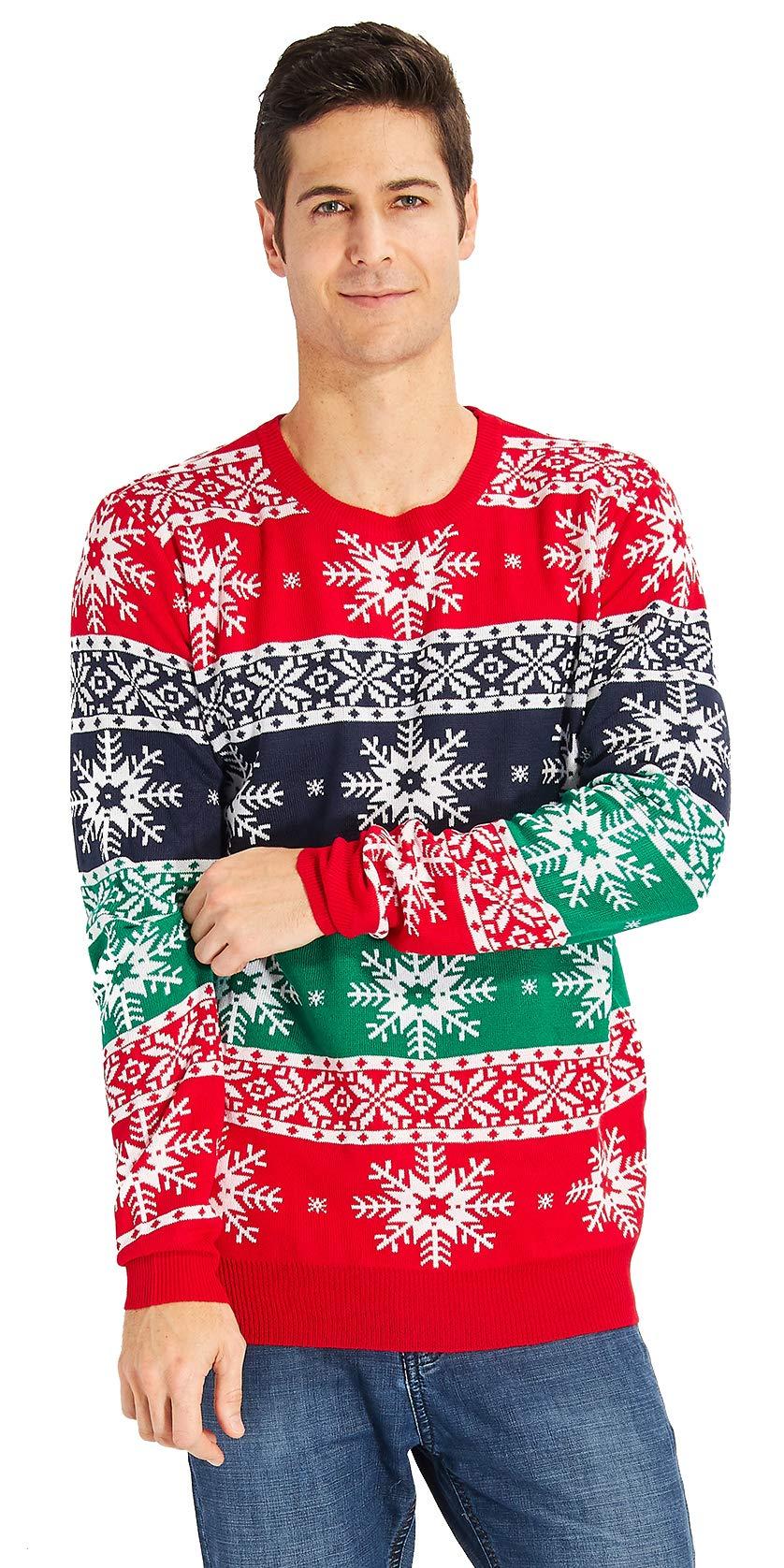 RAISEVERN de Navidad del suéter de Navidad de Punto Camiseta de Manga Larga Hombres Casual Puentes