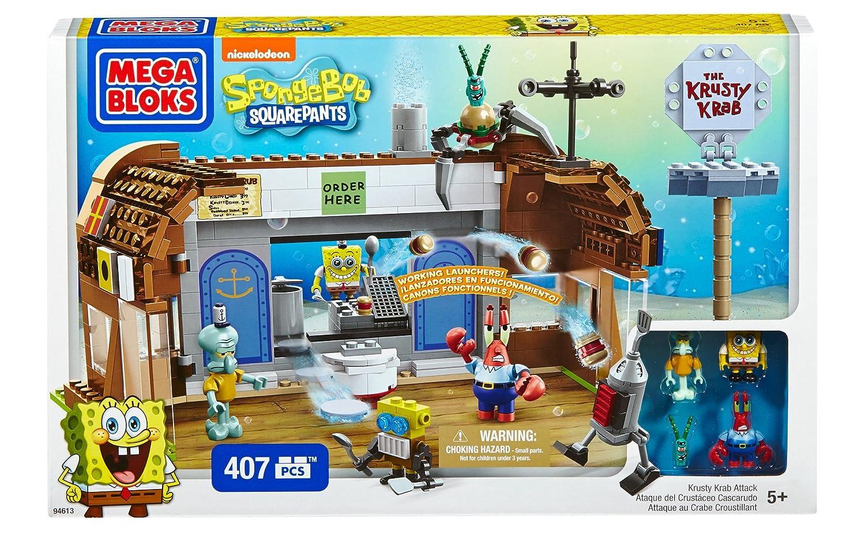 Mega Blocks Toy - Spongebob Square Pants Krusty Krab Attack - 407 Piece  Building Playset - Figures