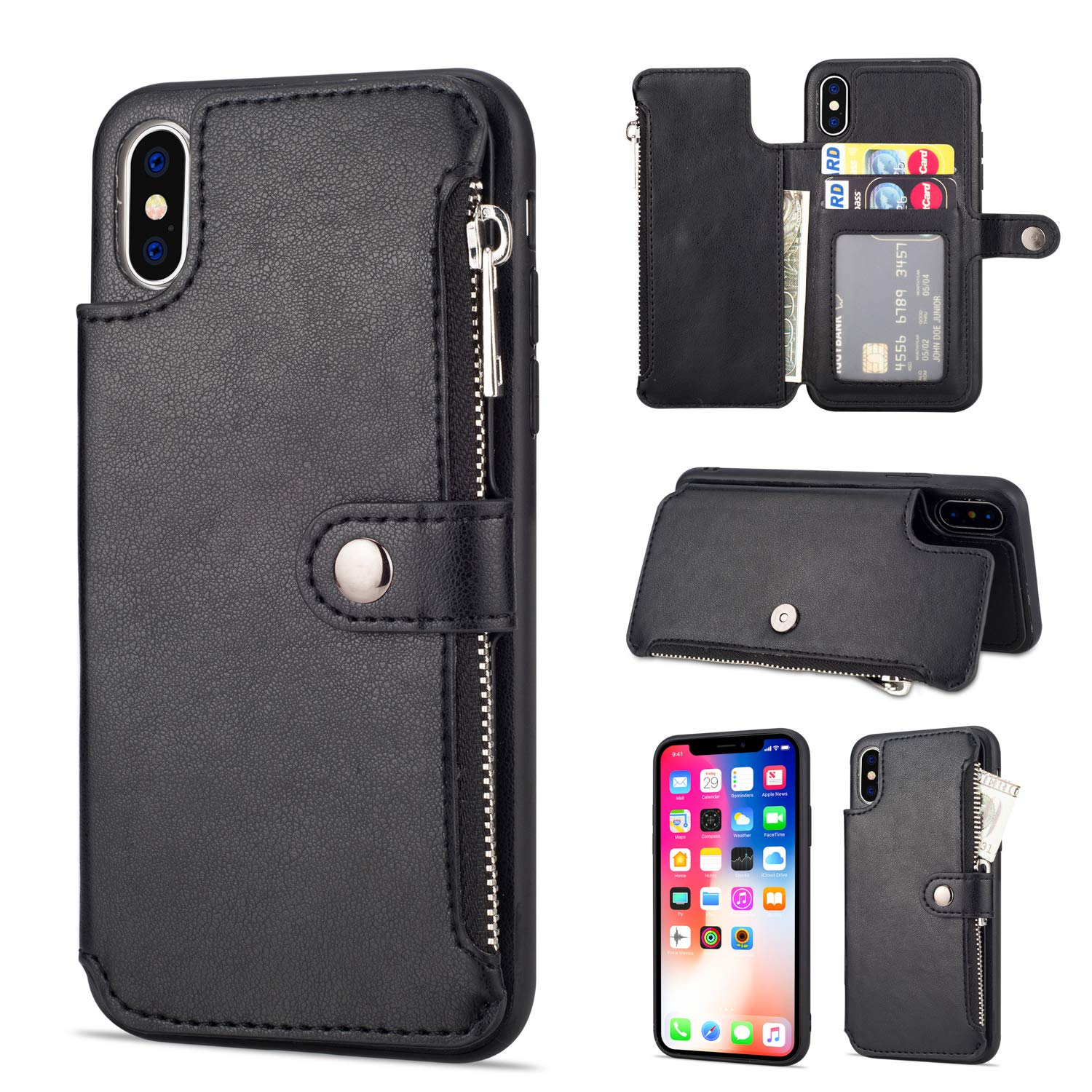 Aearl Iphone Xr Zipper Wallet Case Apple Iphone Xr Leather Case With