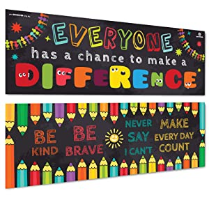 "Sproutbrite Classroom Banner/Posters for Decorations - Educational, Motivational & Inspirational Growth Mindset for Teacher, Students - 2 Poster Pack - 13""x39"" Each (Paper)"