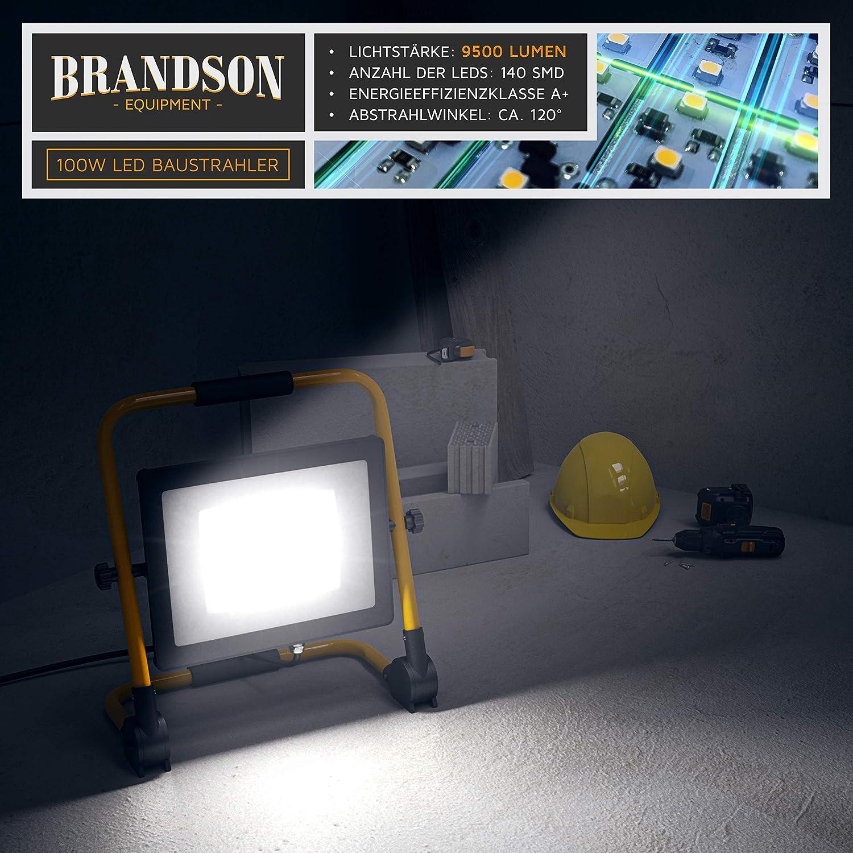 inkl LED Baustrahler 100W Brandson Arbeitsscheinwerfer Arbeitsleuchte Bauscheinwerfer Standgestell und Tragegriff 100 Watt 9500 Lumen 140 SMD LEDs