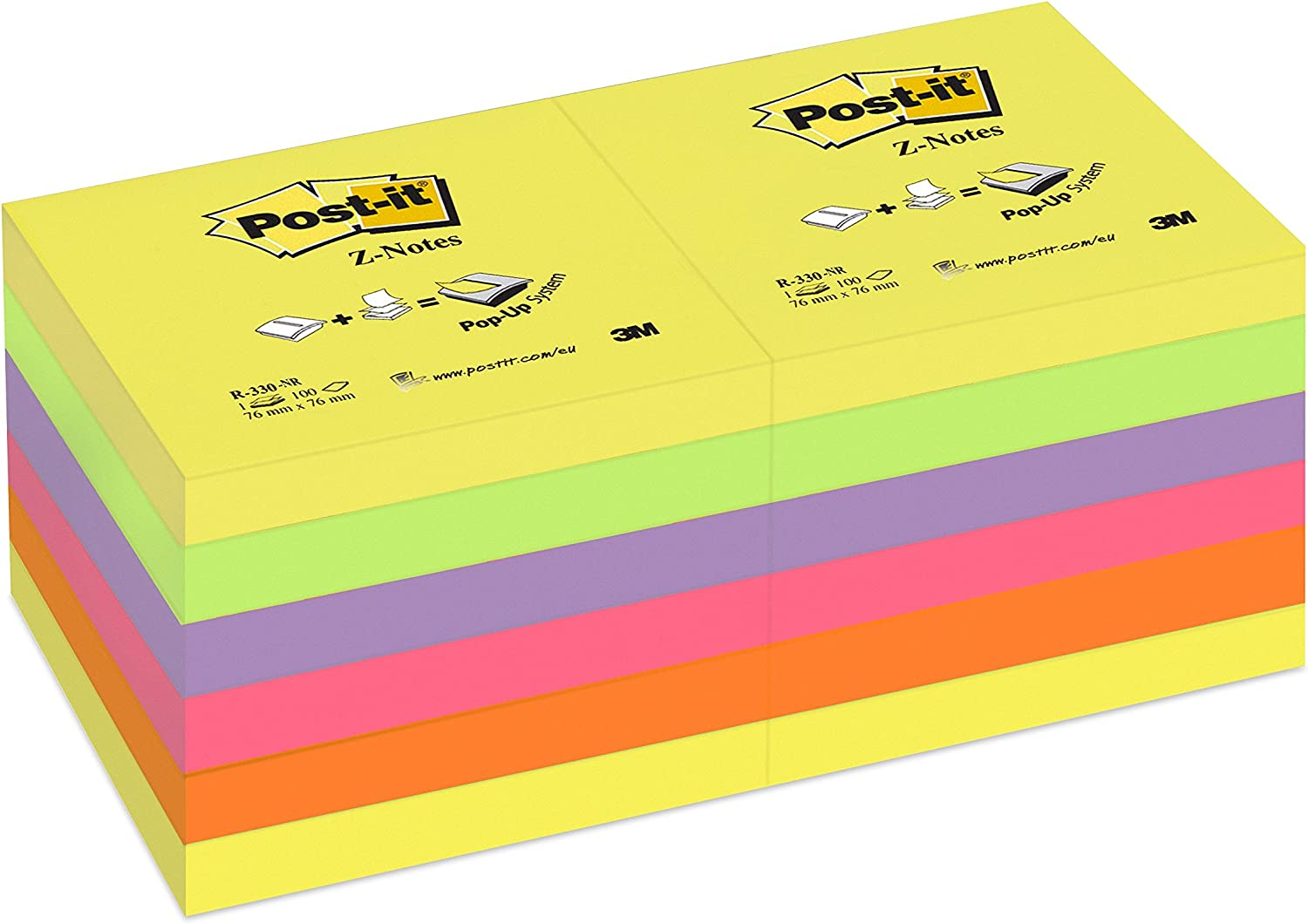 """3M Post-It Neon Colour Z Note Sticky 48 Pads 100 sheets//pad 76mm x 76mm 3 x 3/"""""""