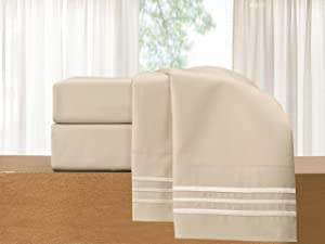 Elegant Comfort 4-Piece Sheet Set-Luxury Bedding 1500 Thread Count Egyptian Quality Wrinkle and Fade Resistant Hypoallergenic Cool & Breathable, Easy Elastic Fitted, Queen, Cream-Beige