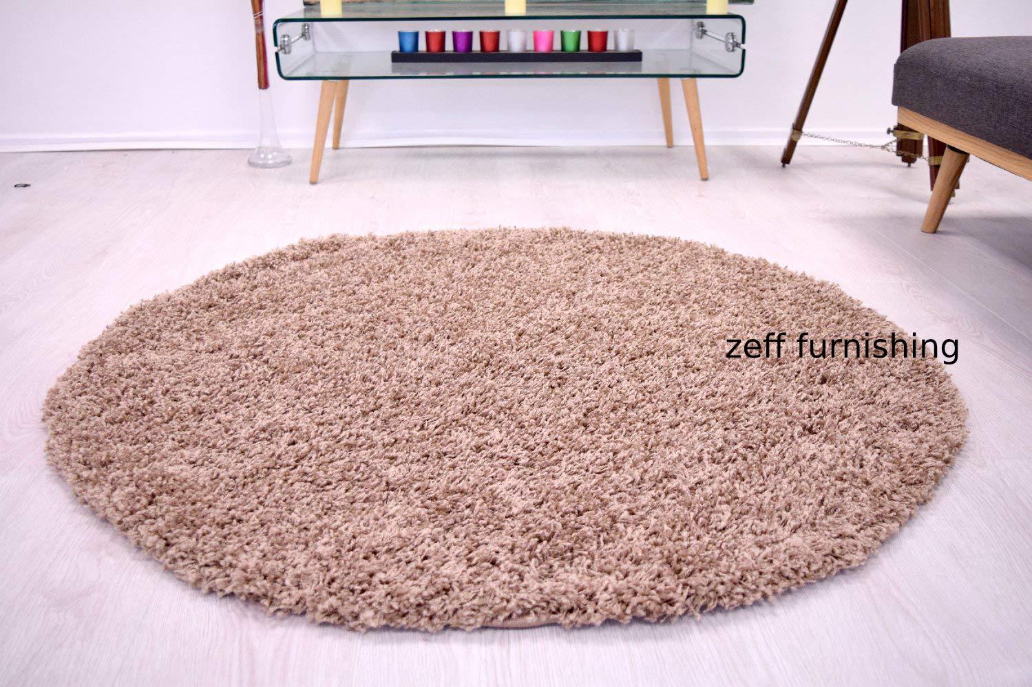 Zeff Furnishing Polyester Anti Slip Shaggy Fluffy Fur Rugs and Carpet for Living Room, Bedroom (Ivory, 4x4 feet Round) (B082LTLJFZ) Amazon Price History, Amazon Price Tracker