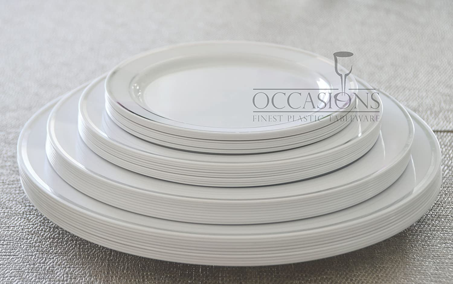 Amazon.com \ OCCASIONS\  Disposable Plastic Plates White w/ Silver trim (120 pieces 10.5\u0027\u0027 dinner plate) Kitchen \u0026 Dining & Amazon.com: \