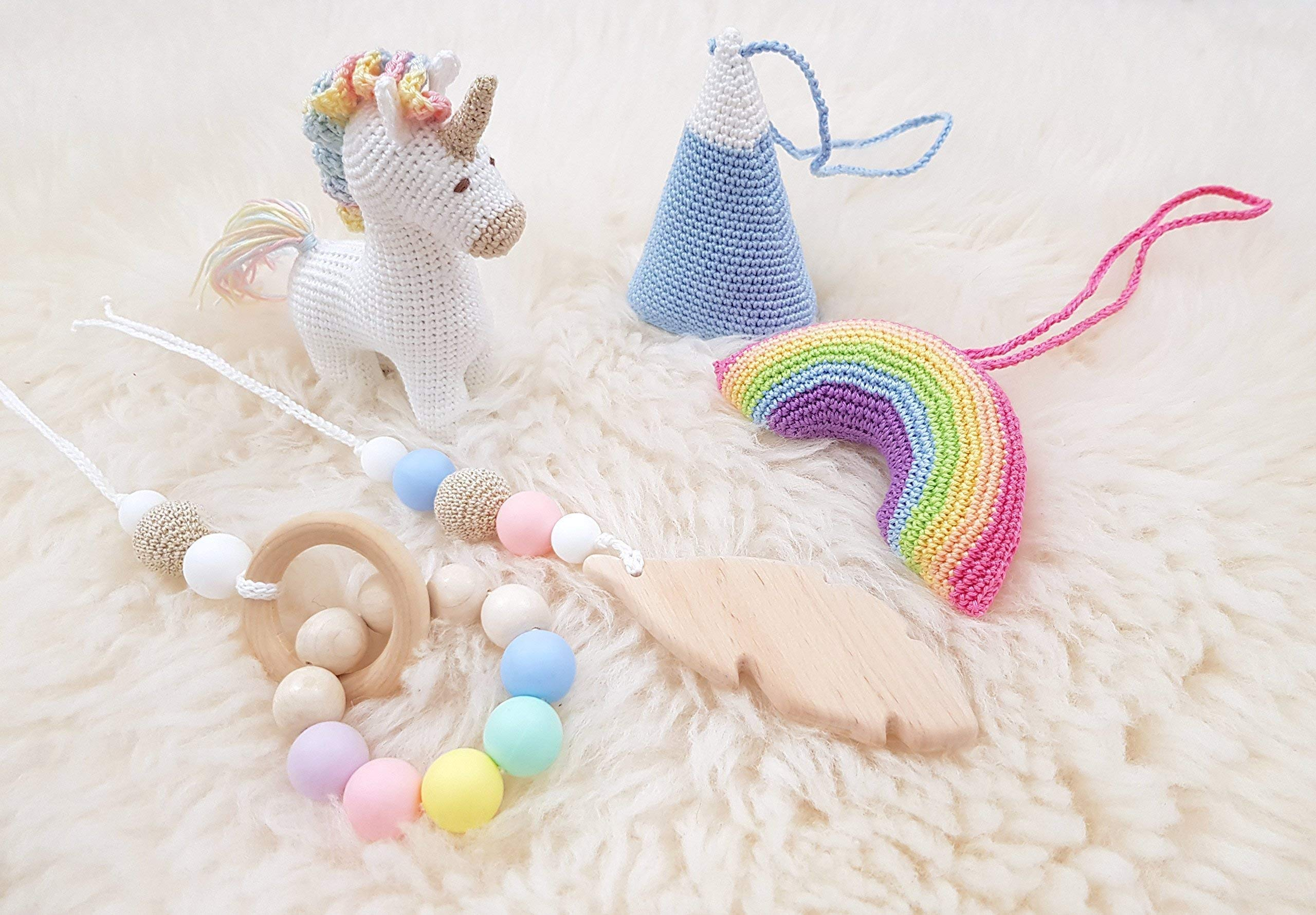 Rainbow Unicorn Baby Play Gym with 5 Mobiles: Unicorn, Rainbow, Mountain, Feather, Beaded Ring. Handmade by… 8