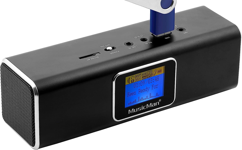 Technaxx Musicman MA - Altavoz portátil (Jack 3.5 mm, USB, MicroSD, 2 x 3 W RMS, pantalla LCD, UKW, 150 Hz - 18 kHz), color negro