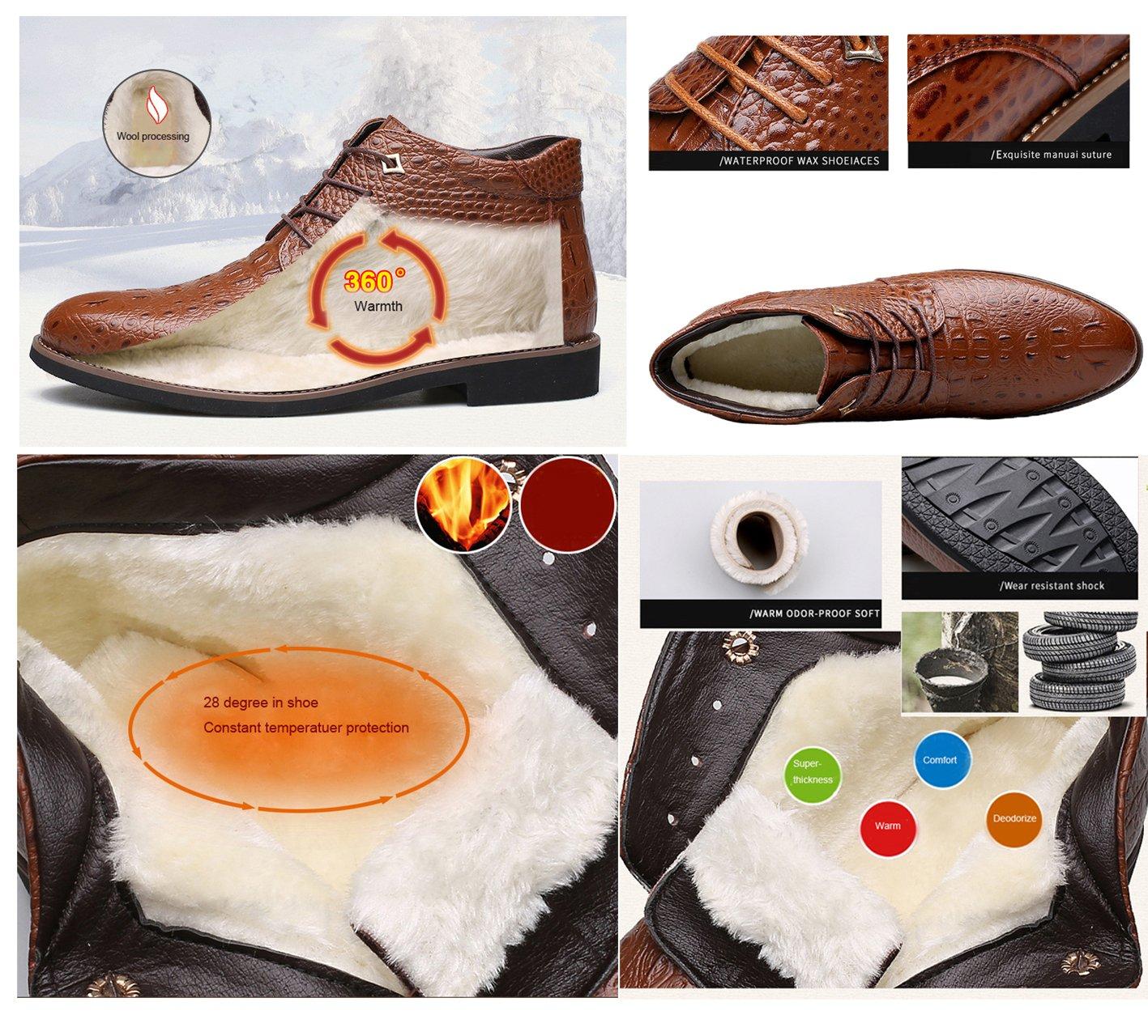 Gaorui Men Winter Warm Fur Lined Leather Snow Boot Alligator Business Dress Formal Shoe by Gaorui (Image #3)
