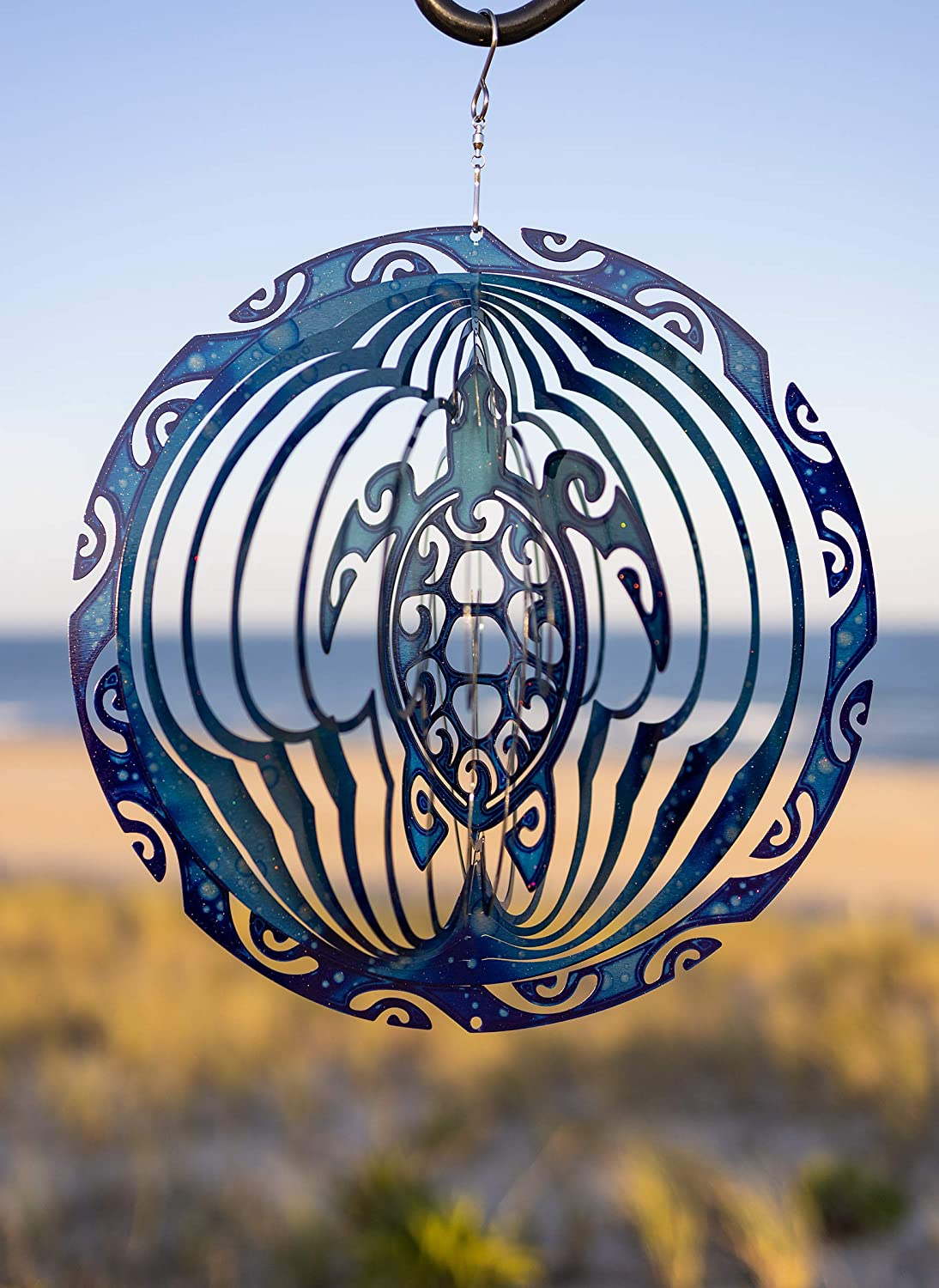 VP Home Tribal Turtle Kinetic 3D Metal Outdoor Garden Decor Wind Spinner