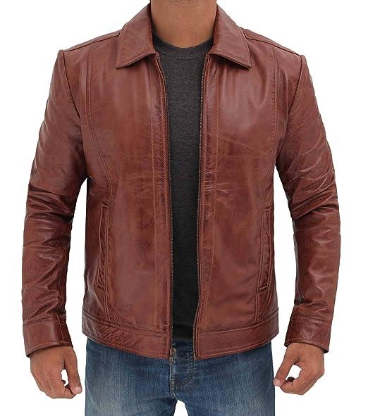 Amazon.com: Chaqueta de piel de cordero para hombre, color ...