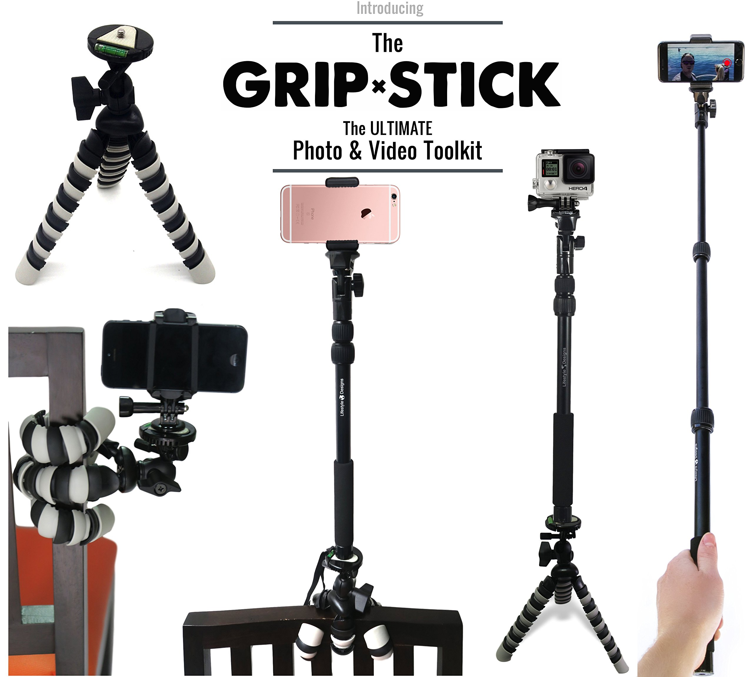 new pro hd selfie stick w flexible tripod gorillapod stand best complete bu. Black Bedroom Furniture Sets. Home Design Ideas