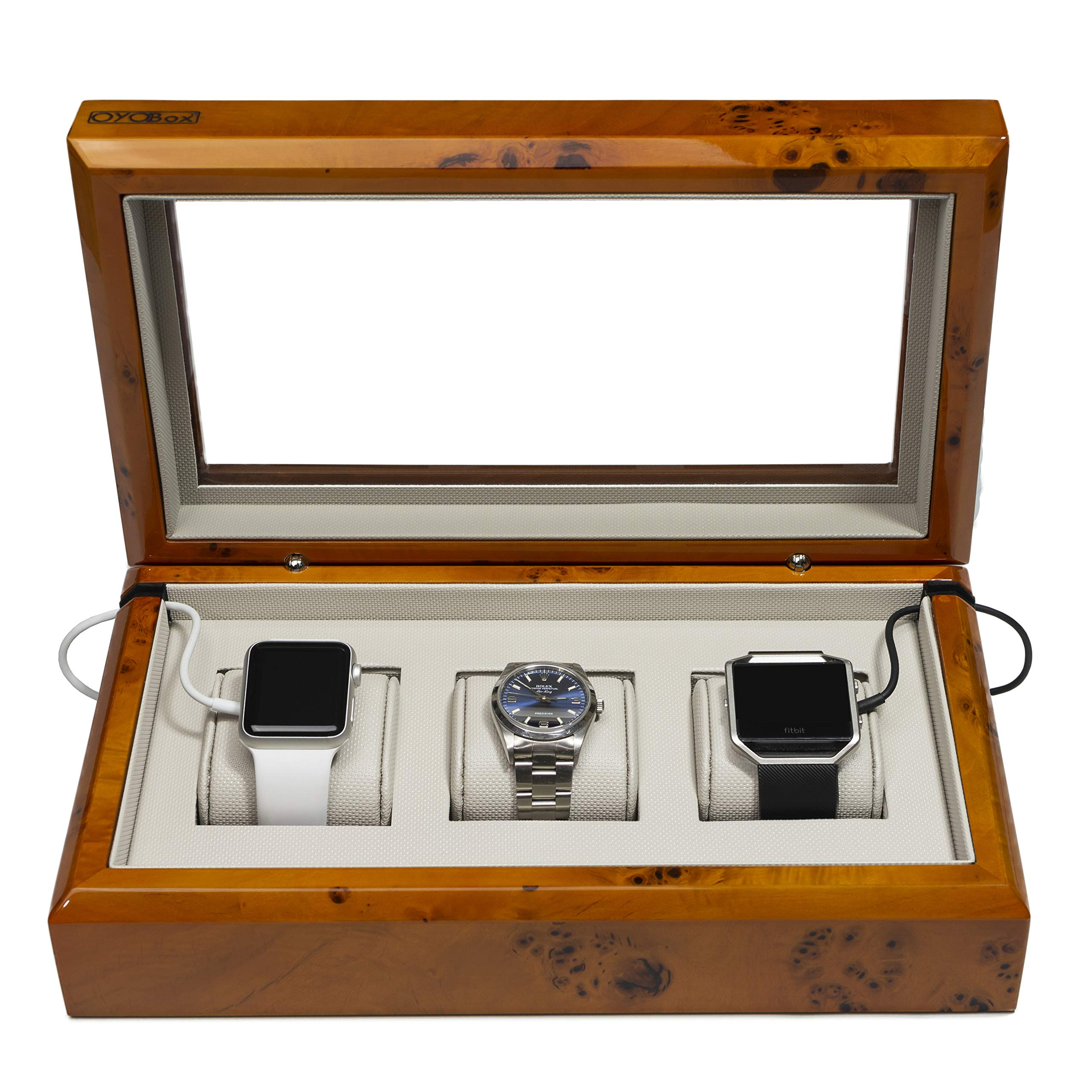 OYOBox Smart Watch Box, Luxury 3 Slot Lacquered Wood Organizer to Store and Charge, Burl