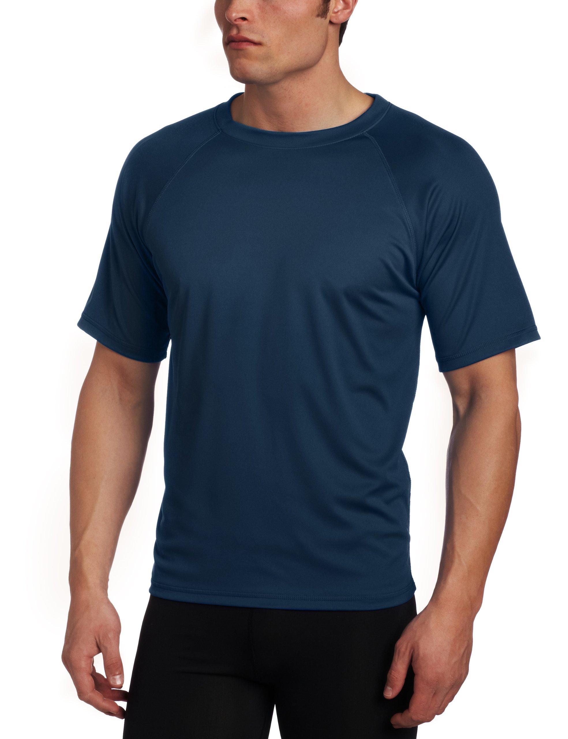 Kanu Surf Men's Solid Rashguard UPF 50+ Swim Shirt, Navy, XX-Large