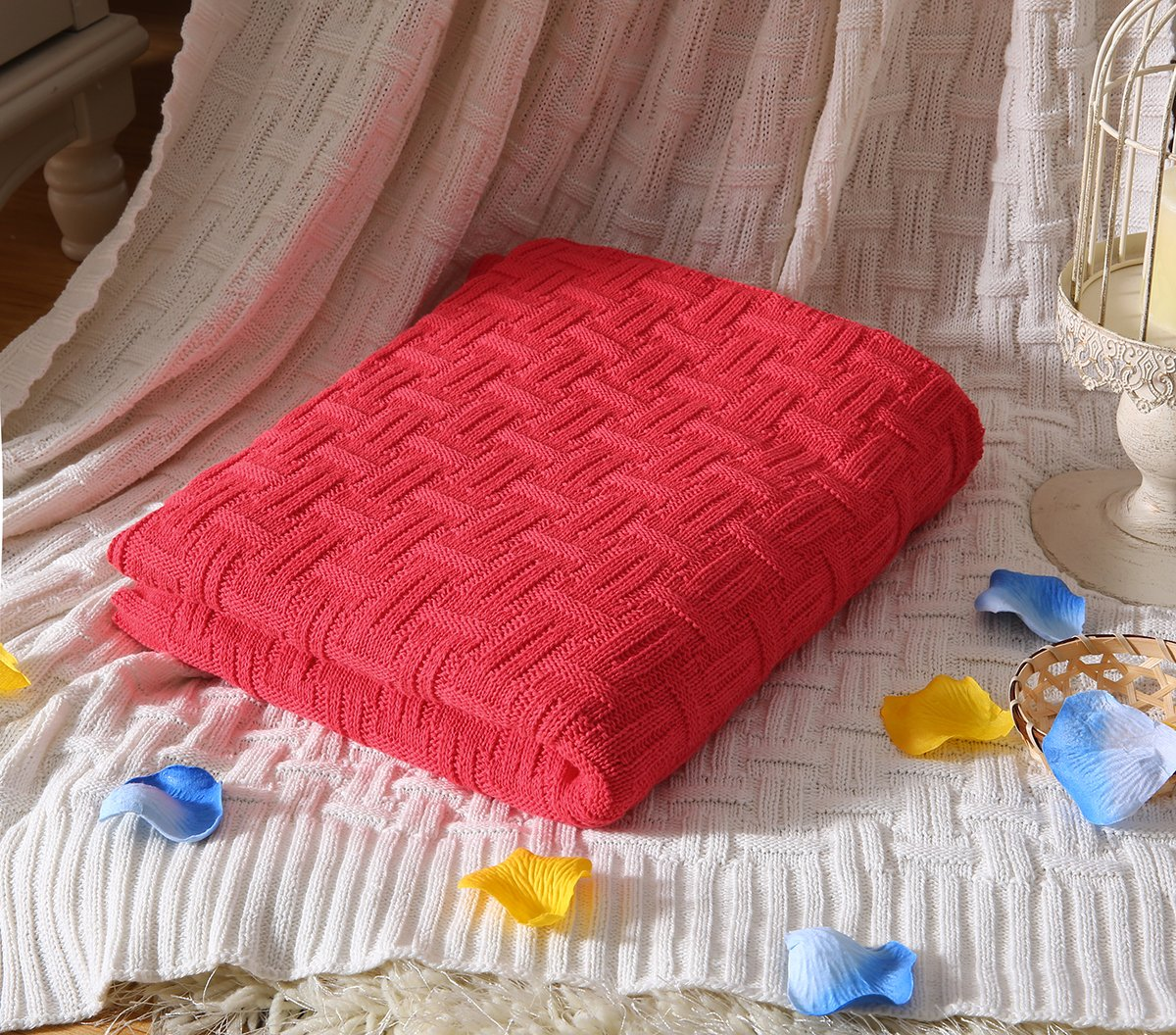 iSunShine Cotton Knitted Throw Soft Warm Cover Weaving Parttern Blanket, 43 * 70 Inches, Red JSIEC COMIN16JU014062