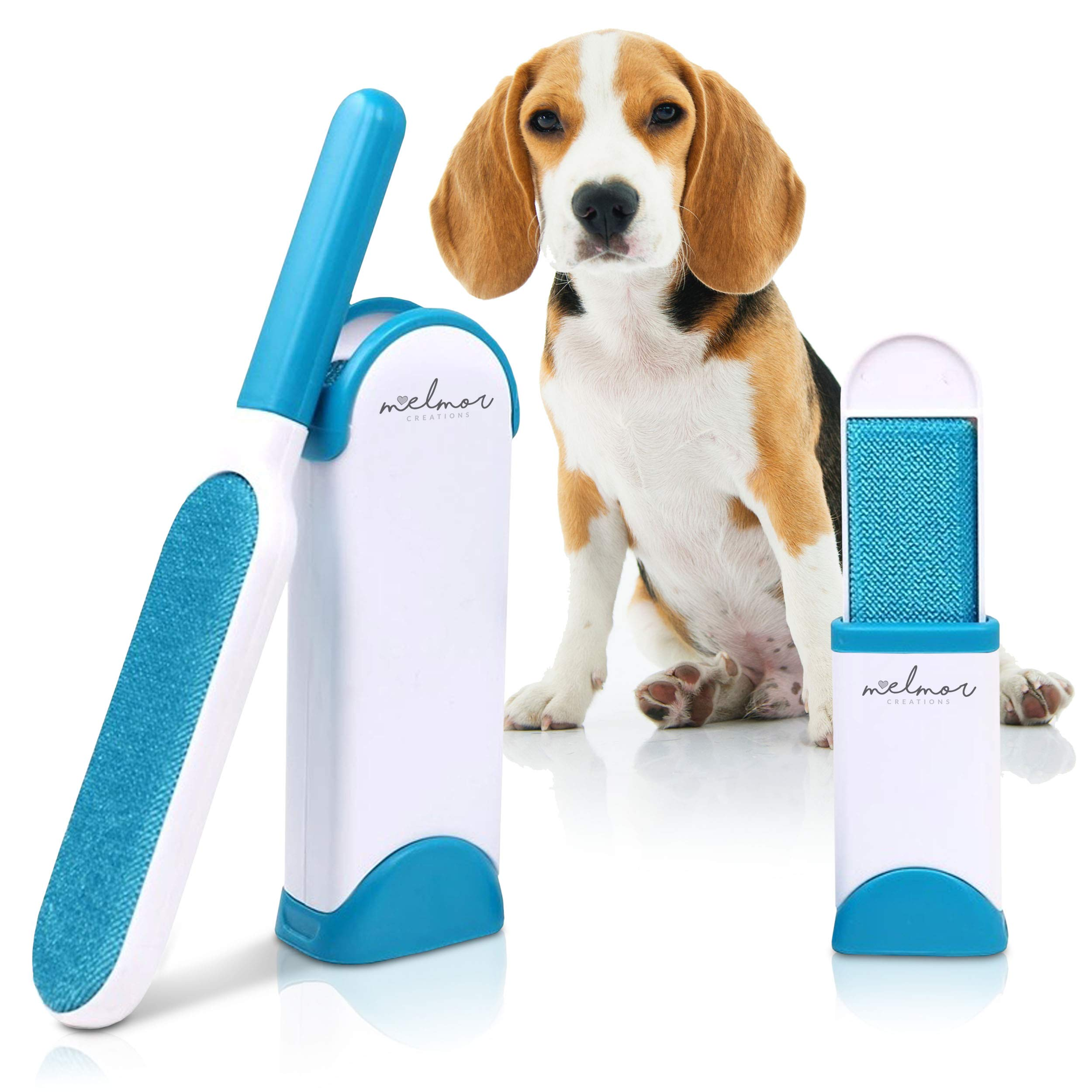 Melmor Creations Pet Hair Remover Brush | Double-Sided Animal Hair Lint Cleaner/Remover with Self-Cleaning Base | Cat & Dog Coats/Paws | Fur Remover Tool for Dog Bed, Furniture, Clothes & house (BLUE)