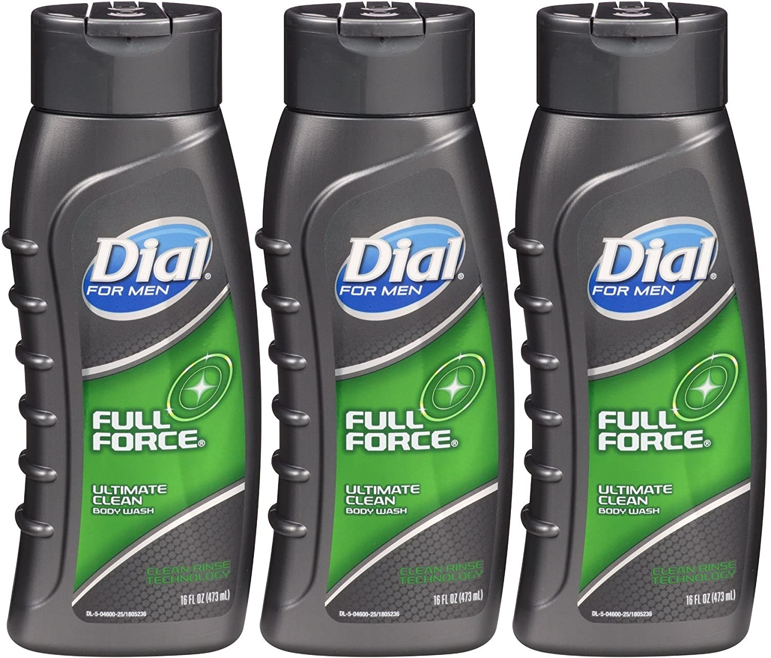 Dial for Men Ultimate Clean Body Wash, Full Force, 16 Oz (Pack of 3)