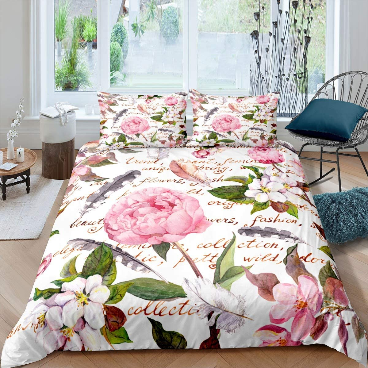 Castle Fairy Lovely Pink Flowers Microfiber Duvet Cover Twin White Kapok Green Foliage Bedding Sets for Boys Girls Teen Feather Black Words 2 Pieces Comforter Sets(1 Duvet Cover 1 Pillow case)