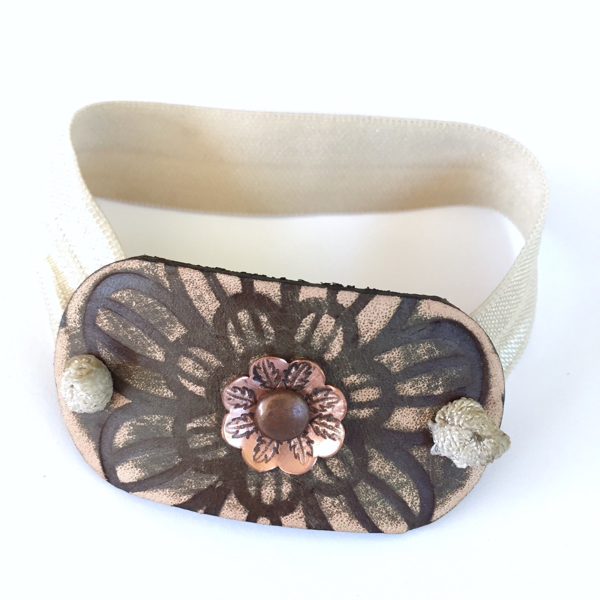Boho Leather Ponytail Holder Oval with Copper Flower and Flat Elastic by BANDANA GIRL Ponytail Wrap Hair Accessory Gift For Her Gift Idea for Her for Women with Long Hair by BANDANA GIRL