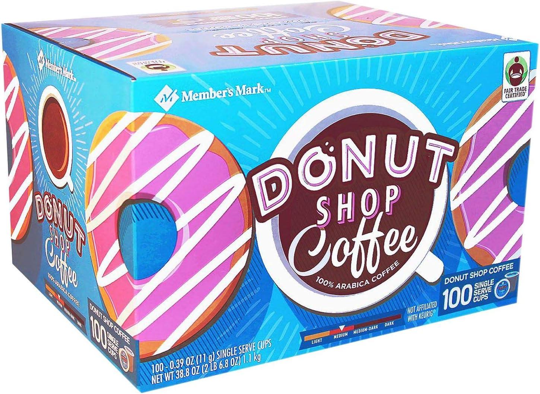 Member's Mark Donut Shop (100 Single-Serve Cups) Net Wt 38.8 Oz, Donut Shop Coffee, 38.8 Oz