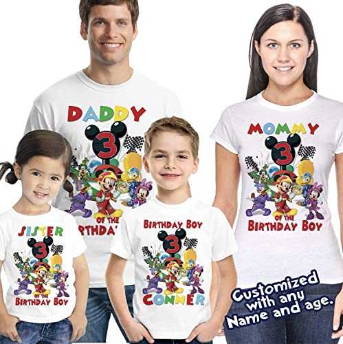 Amazon Mickey Roadster Racers Birthday Shirt Personalized With Name And Age