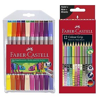 Faber-Castell 151119 - Estuche de 20 rotuladores de doble fibra, multicolor, 1: Amazon.es: Industria, empresas y ciencia