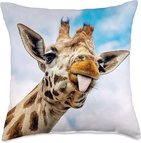 Amazon Com Interpretive Pants Funny Giraffe Throw Pillow 18x18 Multicolor Home Kitchen