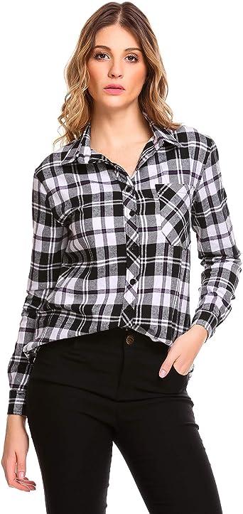 Zeagoo Blusa de manga enrollable para mujer, sexy, informal, con botones, a cuadros, para camisa, blusa