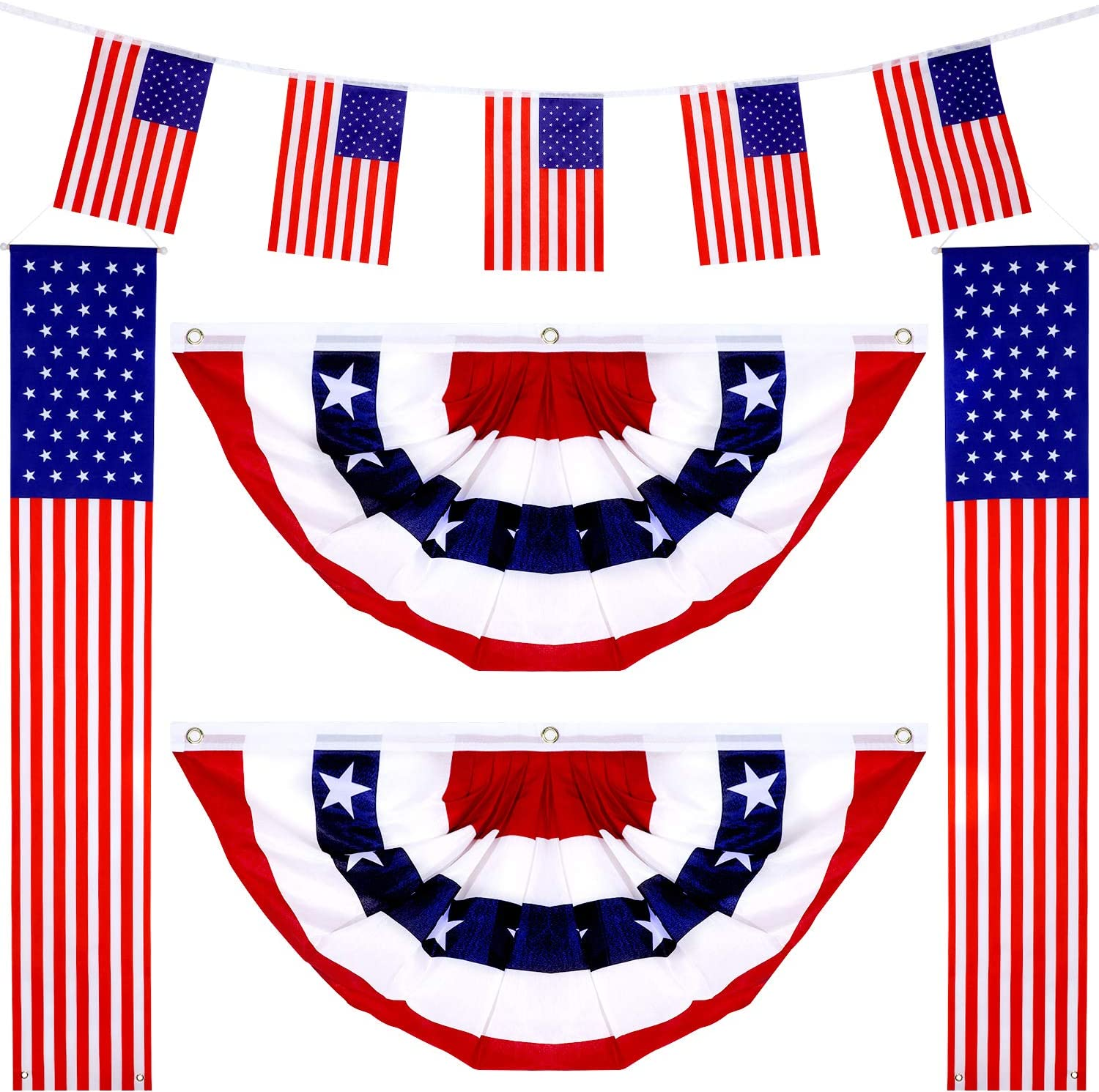 Amazon Com 1 Pair 180 X 30 Cm American Decor Hanging Flag Banners 1 Pair 45 X 90 Cm Usa Pleated Fan Flag And 5 Pieces Bunting String Pennant Banners For Patriotic