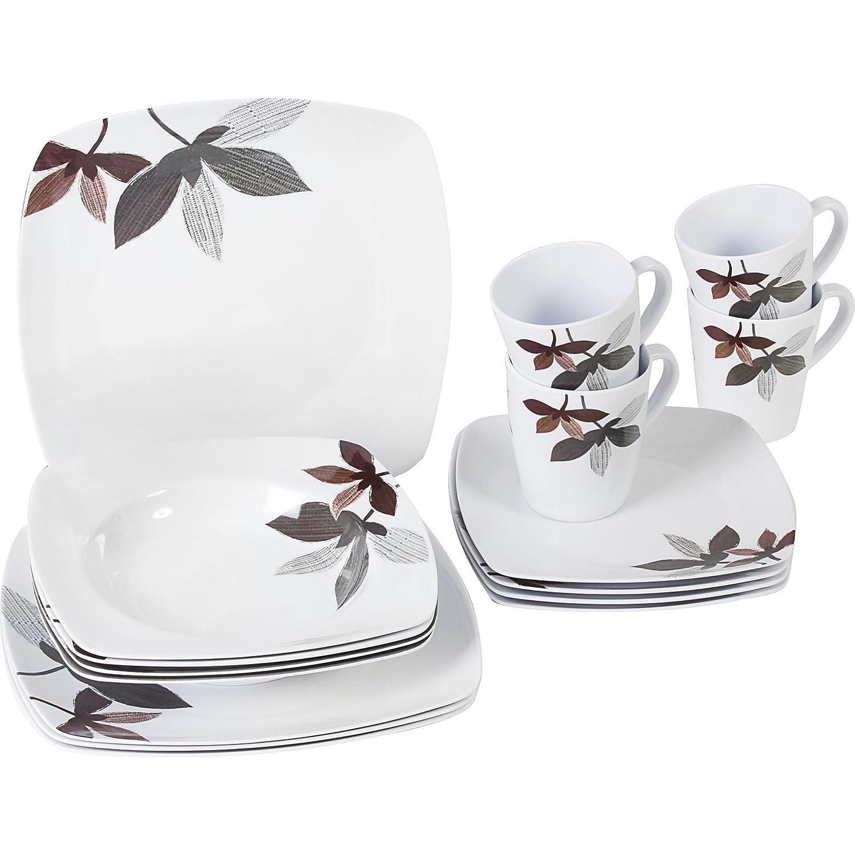 (ブルンナー) Brunner Square メラミン 食器16点セット 皿 プレート マグカップ ディナーウェア B01NAAF317  ミラベル ワンサイズ