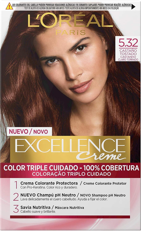 L'Oréal Paris Excellence - Crema Colorante Permanente Triple Cuidado con Pro-Keratina y Savia Nutritiva, Tono 5.32 Castaño Tostado
