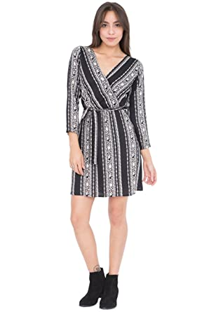 fb9d5db42f likemary Rose and Stripes Long Sleeves Wrap Dress at Amazon Women s  Clothing store