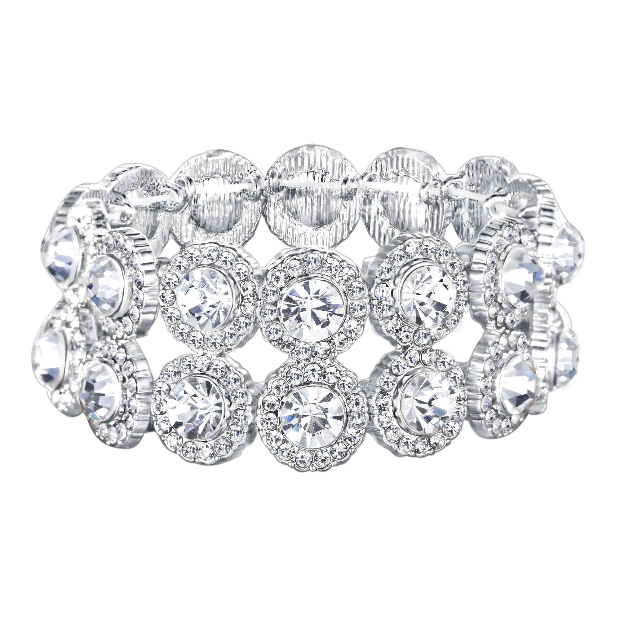 EVER FAITH Women's Austrian Crystal Bridal 2 Layers 8-Shaped Elastic Stretch Bracelet Clear Silver-Tone