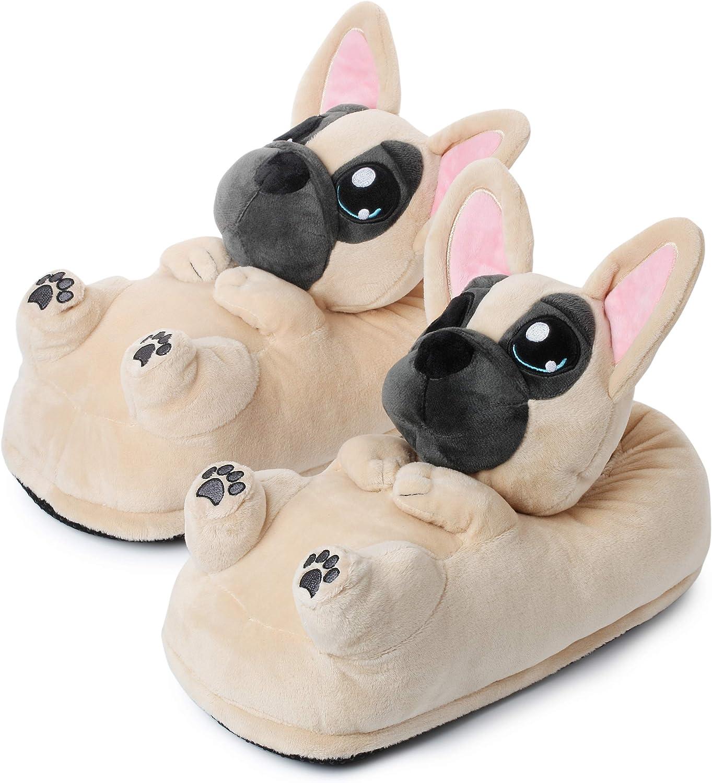 Zapatillas de Casa (10+ modelos) Zoro el Perro Bulldog Invierno Mujer Hombre UE 34-44, Beis (1847)