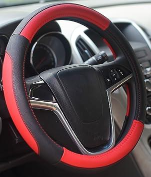 Lenkradabdeckung Lenkradhülle Lenkrad Abdeckung Lenkradbezug Aus Mikrofaser Leder 37 39 Cm Schwarz Rot Mayco Bell Auto