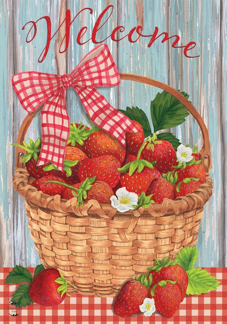 Strawberries Summer House Flag Fruit 28 x 40 Briarwood Lane