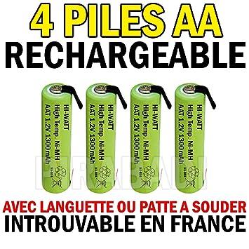 4 pilas Accu recargable 1.2 V Ni-MH AA LR06 1300 mAh con lengüeta a soldar: Amazon.es: Electrónica
