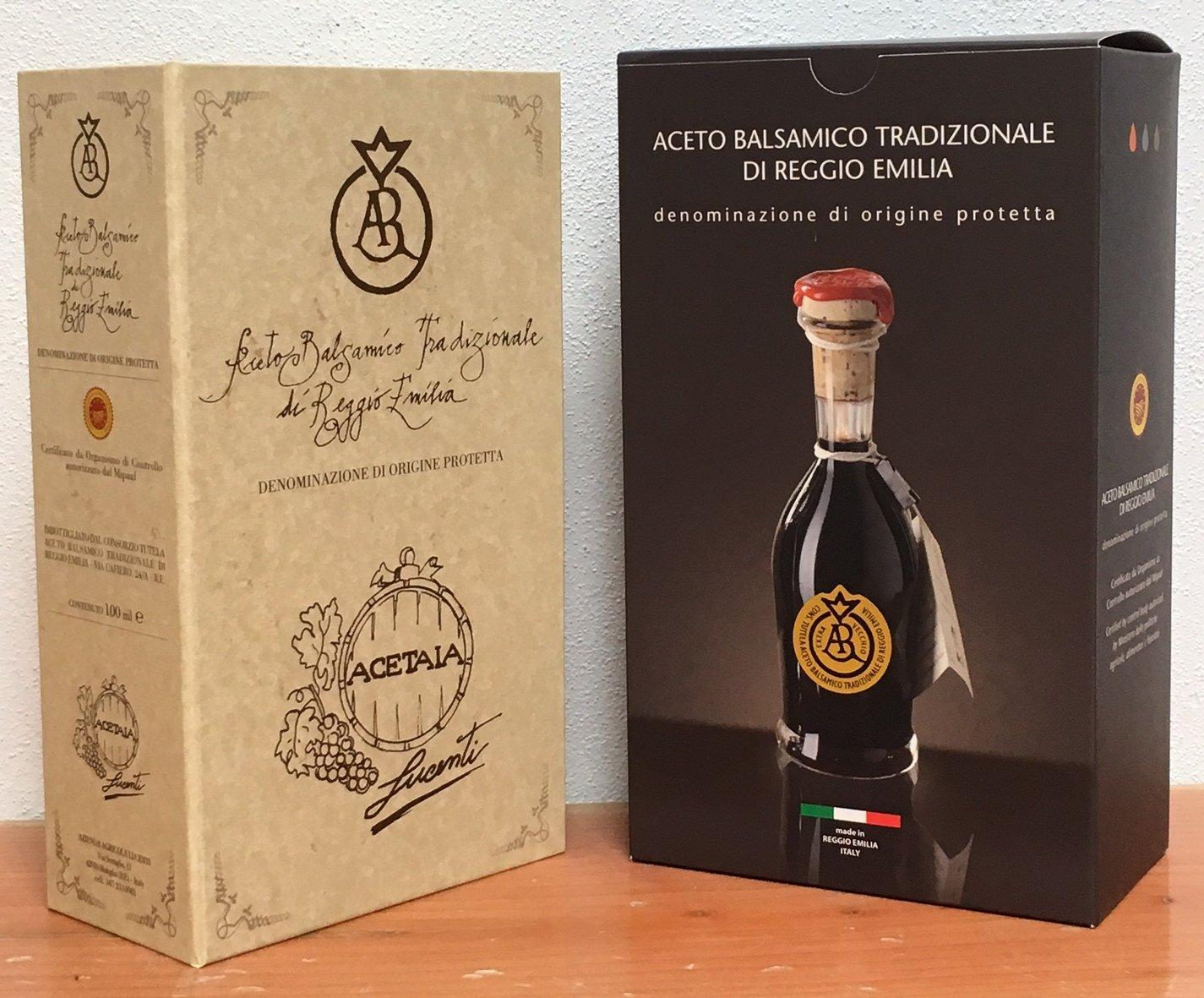 Traditional Balsamic Vinegar of Reggio Emilia PDO ''Golden Seal'', 3,5 oz. Least 25 years old + glass tic