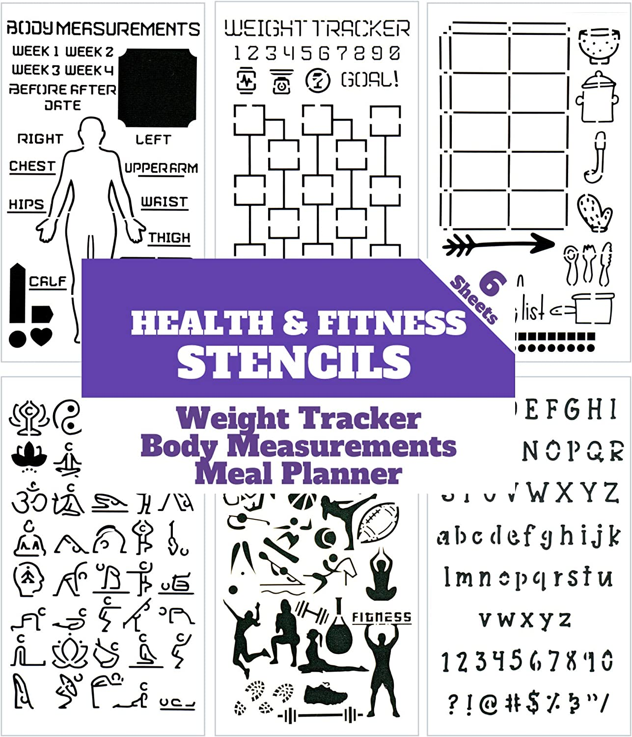 Health and Fitness Journal Stencil Set - Custom-Designed Supplies for Bullet Journal Workout Planners with DIY Templates to Track Habits, Exercise, Weight and Meal Planning by Sunny Streak