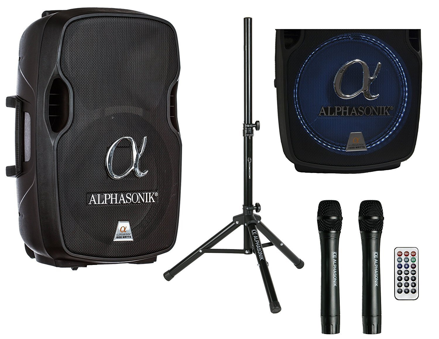 Alphasonik 12'' Portable Rechargeable Battery Powered 1200W PRO DJ Amplified Loud Speaker with 2 Wireless Microphones Echo Bluetooth USB SD Card AUX MP3 FM Radio PA System LED Ring Karaoke Tripod Stand by Alphasonik