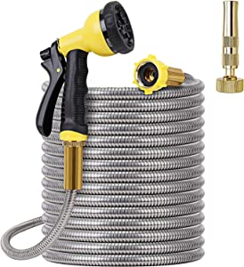 FOXEASE Metal Garden Hose 100FT - Stainless Steel Heavy Duty Water Hose with Solid Metal Nozzle & 8 Function Sprayer, Portable & Lightweight Kink Free Yard Hose, Outdoor Hose