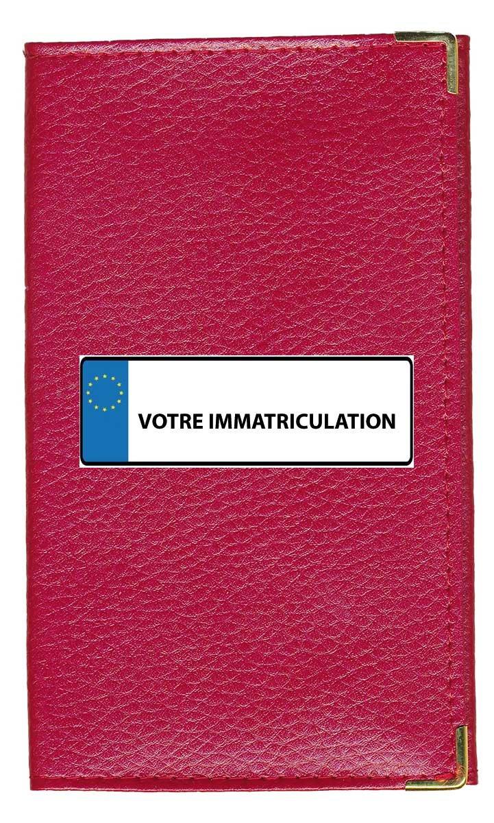 Syl'la Plaque Porte Carte Grise et Papier Voiture en Cuir pour Femme ou Homme Personnalise avec Votre immatriculation Bleu cg-bleu-imm