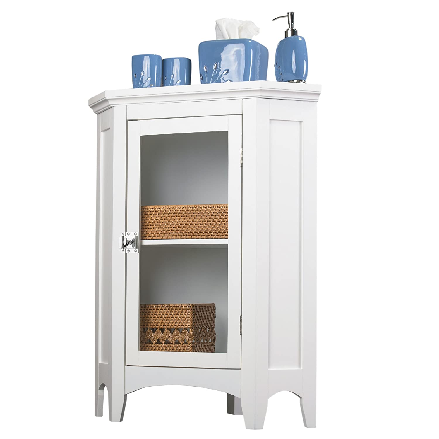 White Corner Bathroom Cabinet Amazoncom Elegant Home Fashions Madison Collection Shelved