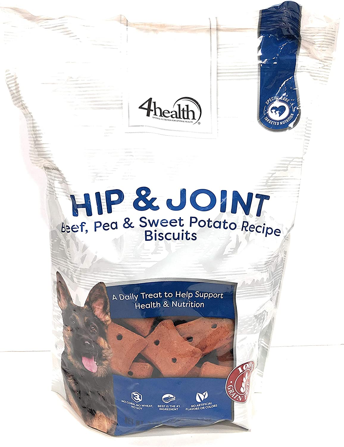 4health Tractor Supply Company Hip & Joint Beef Pea Sweet Potato Recipe Biscuits Treats Grain Free, 3 Pound Bag