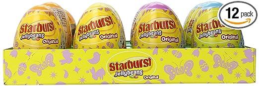 Starburst Original Jellybeans Easter Candy Filled Eggs, 1.6 Ounce Easter Eggs (Pack of 12 Eggs)