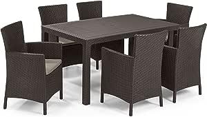 Keter - Set de mobiliario de jardín Melody/Iowa (mesa + 6 sillones), color marrón: Amazon.es: Jardín