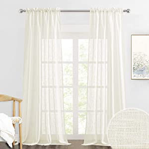 RYB HOME Semi Sheer Curtains - Linen Sheer Curtains Privacy Window Decor Soft Drapes for Living Room Home Office Cafe Farmhouse Garden, Natural, 52 x 108 inch Long, 2 Pcs