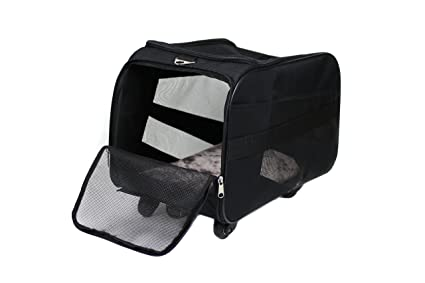 dbest products Pet Smart Cart, Large, Black, Rolling Carrier with wheels soft sided