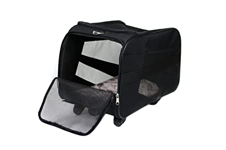 Pet Smart Cart Large Black Rolling Carrier With Wheels Soft Sided