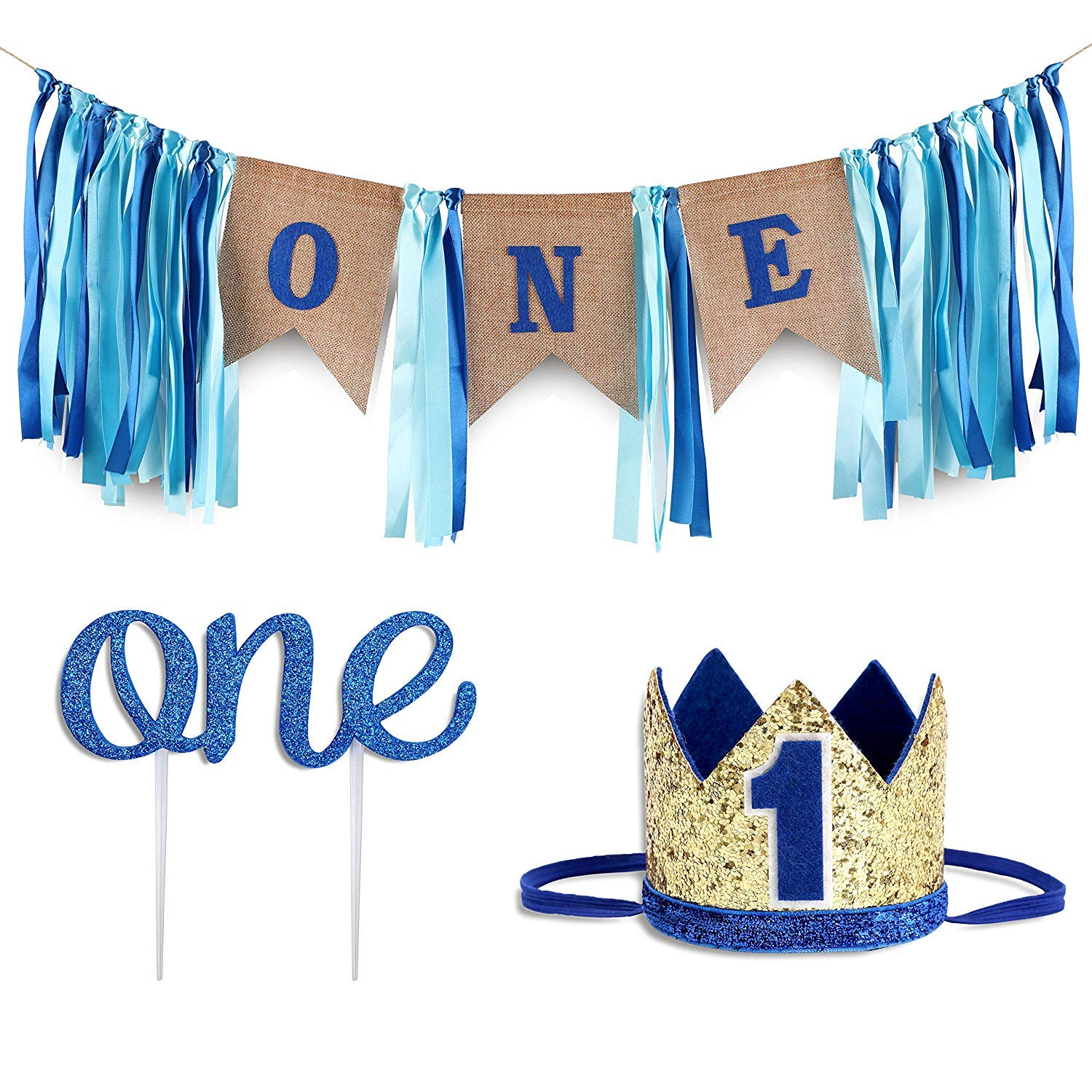 Baby 1st Birthday Boy Decorations WITH Crown - Baby Boy First Birthday Decorations High Chair Banner - Cake Smash Party Supplies - Happy Birthday ONE Burlap Banner, No.1 Crown by PartyHooman